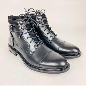 Alfani Chris Utility Boot Buckle Cap Toe Black 9.5